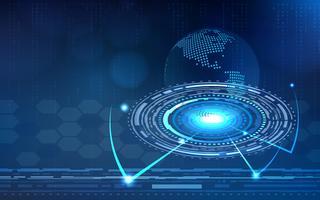 Blauer Technologiekreis und abstrakter Hintergrund des Computers mit Matrix des blauen und binären Codes. Geschäft und Verbindung. Futuristisches und Industrie 4.0 Konzept. Thema Internet-Cyber und Netzwerk. HUD-Schnittstelle