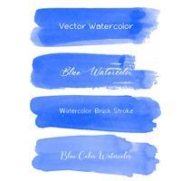 Blå pensel stroke akvarell på vit bakgrund. Vektor illustration.