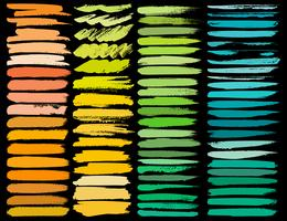 Großer Satz bunte Bürstenanschläge, bunte Tintenschmutz-Bürstenanschläge. Vektor-illustration