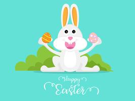 süßes Kaninchen mit Osterei Frohe Ostern vektor
