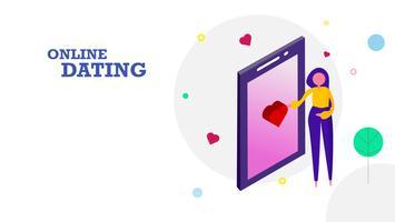 Glad hjärtans dag platt design bakgrund. Kvinna sänder hjärtanotion ikon genom att röra skärmen på mobiltelefon till sin pojkvän. Grafisk designkoncept. Vektor illustration