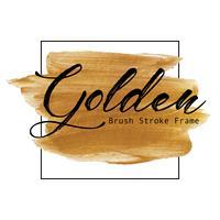Goldener Bürstenanschlagrahmen, Goldbeschaffenheits-Farbenfleck, Vektorillustration. vektor