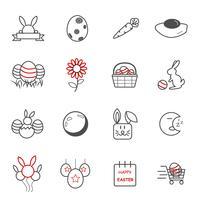 Påskdag ikoner. Semester och evenemangskoncept. Illustration vektor samling set. Tecken och symbol tema.