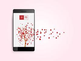 lyckliga valentines dag hjärtan som flyger från träd på smartphone