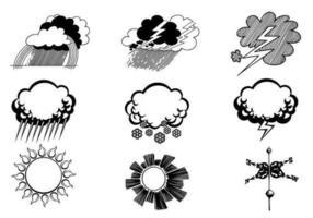 Handdragen väder vektor symbolpaket