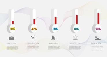 Entwerfen Sie infographic Diagrammelement der Schritte der Geschäftsschablone 5 mit Platzdatum für Darstellungen, Vektor EPS10.