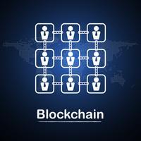 Blockchain-Technologiegeschäftsmann fintech Kryptowährungsblockkettenfirmaserver-Zusammenfassungshintergrund. Verknüpfter Block enthält Kryptografie-Hash und Transaktionsdaten. Neue futuristische Systemtechnik vektor