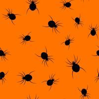 Nahtloser Halloween-Spinnenpapierkunst-Musterhintergrund. Orange Farbe für den glücklichen Halloween-Tag, der das Karten- und Geschenkverpackungskonzept verziert. Gespenstisches Wanzengrafikdesign vektor
