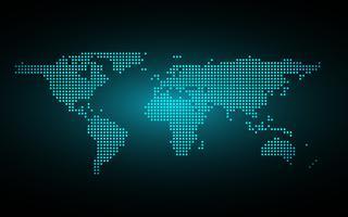Blauer abstrakter globaler Punktkartenhintergrund. Radiale Steigung. Tapete des modernen Designs für Berichts- und Projektpräsentationsschablone. Vektor-Illustration Grafik. Punkt- und Kreisform. Technologie abstrakt