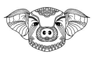 Gris zodiac line art. Handrit och djurkoncept. Svartvitt för målning. Vektor illustration grafisk designelement. Tecken och symbol tema. 2019 Gyllene gris för kinesiskt nyttår tema.