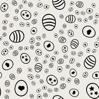 Nahtlose Muster Hintergrund. Abstraktes und klassisches Konzept. Stilvolles Thema des geometrischen kreativen Designs. Abbildung Vektor. Schwarzweiss-Farbe. Osterei mit Herzform für Ostertag
