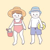 Netter Junge und Mädchen der Karikatur auf Strandvektor. vektor