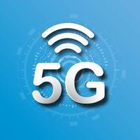 Blauer Logohintergrund der zellularen Mobilkommunikation 5G mit Linie Verbindungsübertragung des globalen Netzwerks. Digitales Transformations- und Technologiekonzept. Massives zukünftiges Geräteanschluss-Hochgeschwindigkeitsinternet