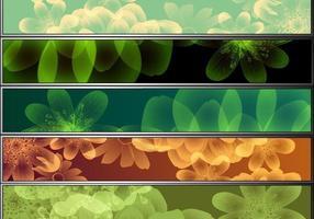 8 färgstarka blomma vektor banner pack