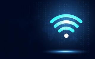Abstrakter Technologiehintergrund der futuristischen blauen drahtlosen Verbindung. Digitale Transformation der künstlichen Intelligenz und Big Data-Konzept. Geschäftsquanten-Internet-Kommunikationskonzept