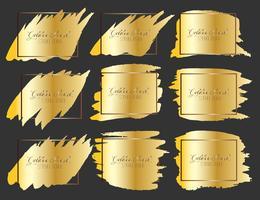 Satz des Pinselstrichrahmens, Goldschmutz-Pinselstriche. Vektor-illustration