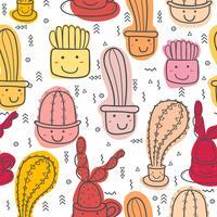 Netter nahtloser Kaktusmusterhintergrund. Vektorillustrationen für Geschenkverpackungsdesign.
