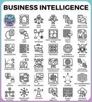 Business Intelligence (BI) koncept ikoner vektor