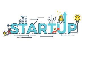 Business Startup-Wort-Design vektor
