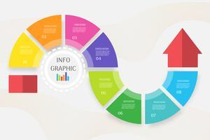 Design Business mall 8 stegs infografiskt diagramelement med platsdatum för presentationer, Vector EPS10.