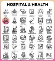 Krankenhaus- und Gesundheitskonzeptikonen vektor