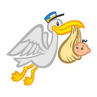 Karikatur-fliegender Storch-Vogel, der ein Baby liefert