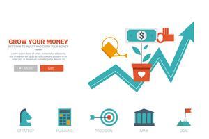 Växande pengar koncept vektor