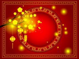 gott kinesiskt nytt år gyllene körsbärsblom på röd bakgrund vektor