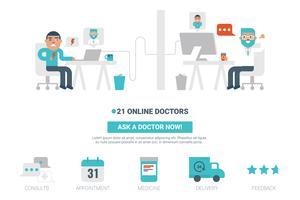 online läkarkoncept vektor