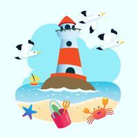 Leuchtturm und Strand vektor