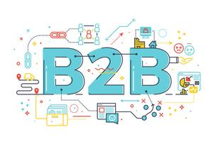 B2B: Business to Business, Wort Illustration