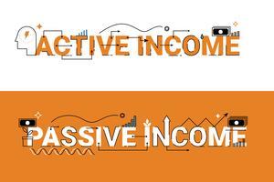 Aktiv och passiv inkomst illustration