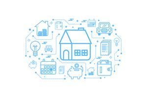 Fastighetshem översikt ikon koncept