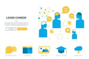 Lär dig kinesisk konceptwebbplats vektor