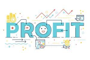 Profit-Wort-Schriftzug vektor