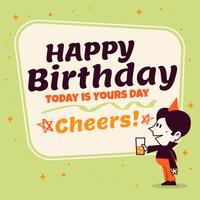 Weinlese-Art-alles- Gute zum Geburtstagpostkarten-Schablonen-Design