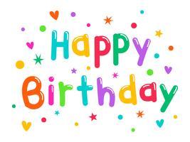 Buntes alles Gute zum Geburtstag Typogrphy