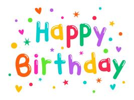 Färgrik Grattis på födelsedagen Typogrphy