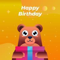 Grattis på födelsedagen hälsningskort med rolig barnslig björn illustration