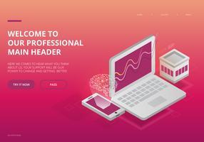 Artificiell intelligens UI Landing Page Theme vektor