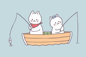 Sommerkatzen-Fischenvektor der Karikatur netter. vektor