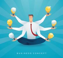 Geschäftsmann, der in der Lotoshaltungsmeditation mit Glühlampe sitzt. Konzept des kreativen Denkens.