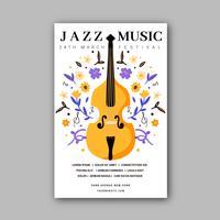 Vektor-Geige mit Blumen zur Festival-Musik-Schablone