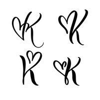 Vektor-Satz des Weinleseblumenbuchstabe-Monogramms K Kalligraphieelement Valentinsgrußflourish. Übergeben Sie gezogenes Herzzeichen für Seitendekoration und entwerfen Sie Illustration. Liebeshochzeitskarte für Einladung