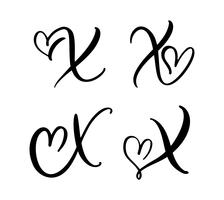 Vektor-Satz des Weinleseblumenbuchstabe-Monogramms X. Kalligraphieelement Valentinsgrußflourish. Übergeben Sie gezogenes Herzzeichen für Seitendekoration und entwerfen Sie Illustration. Liebeshochzeitskarte für Einladung