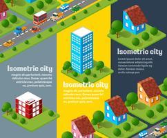 Reihe von isometrischen städtischen Objekten