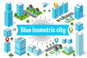 Blauer Stadtwolkenkratzer