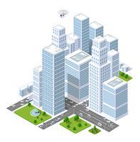 En stor stad av isometrisk urban