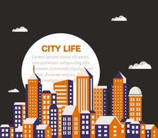 City byggnad platt vektor