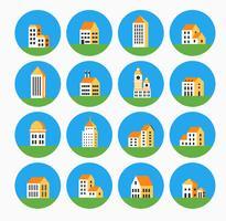 Flaches farbiges Gebäude